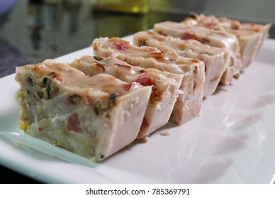 Close up of Chinese taro cake on table at kitchen, Chinese traditional snack appetizer