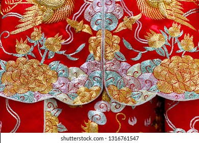 Close up Chinese tradition marriage formal dress of bride