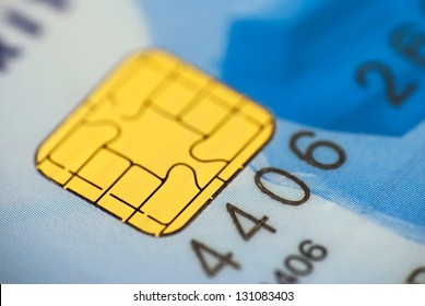 Close up of a chip on a credit card.
