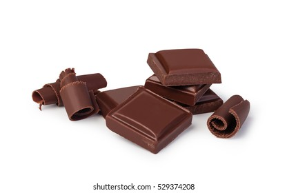 close up a chocolate bar isolated on white background