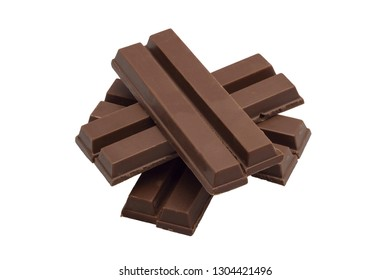 close up chocolate bar isolated over white background