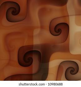 Close up chocolate caramel coffee cream swirls