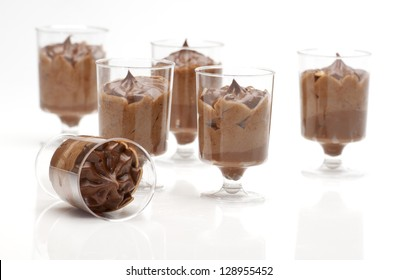 close up of chocolate desserts(mousse) in a small glass