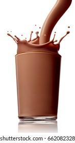 close up of chocolate milk splash on white background