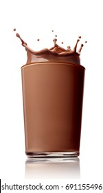 close up of a chocolate milk splash on white background