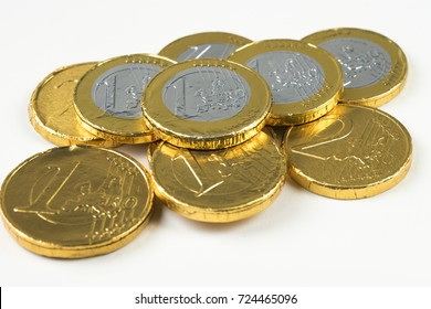 close up of chocolate money, one and two euro, Dutch Sinterklaas event, fifth of December