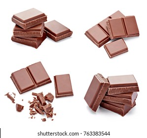 close up of chocolate pieces on  a white background