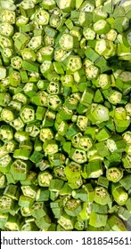 Close up of Chopped pieces of Ladyfingers.Top view of chopped ladyfingers.Cutting pieces of lady finger.Cutting pieces of okra.Cut cross section detail of green raw Okra.Chopped Ladyfingers in a bowl.