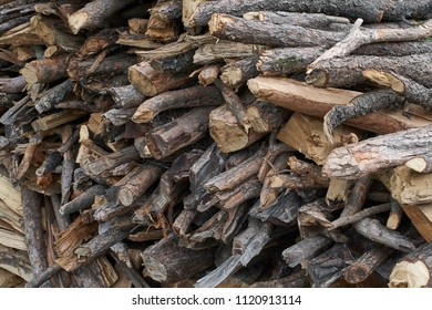 Close up of chopped up wood