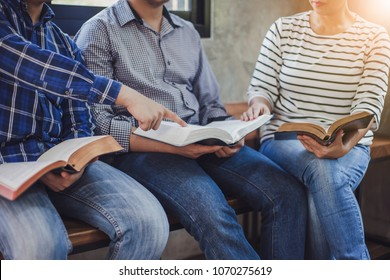 close up of christian group are reading and study bible together in Sunday school class room