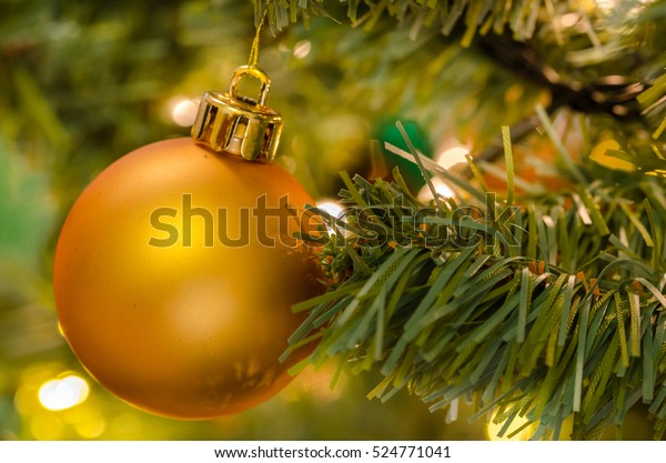 Close up of a Christmas Bauble on a Christmas Tree. Shallow Depth of Field