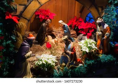 Close up of Christmas crib at Canical, Madeira island, Portugal