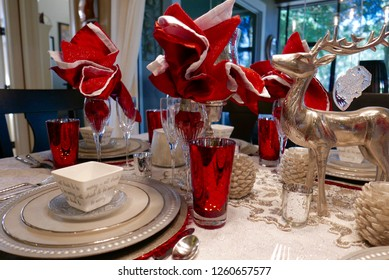 Close up of Christmas dinner table setting