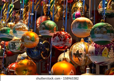 Close up of Christmas market stall in Basel, Switzerland