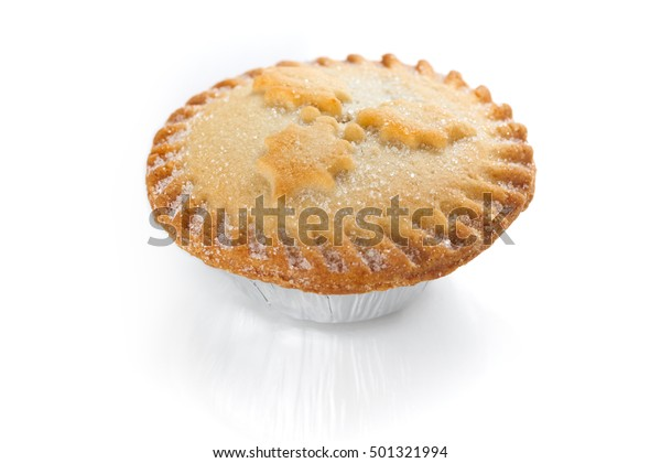 Close up of a Christmas Mince Pie isolated on a white background. Sweet Mince Pies, fruit filling.