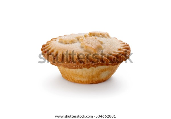 Close up of a Christmas Mince Pie isolated on a white background