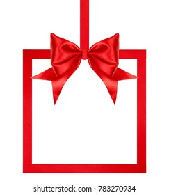 close up of a Christmas red ribbon bow with ribbon square frame on white background