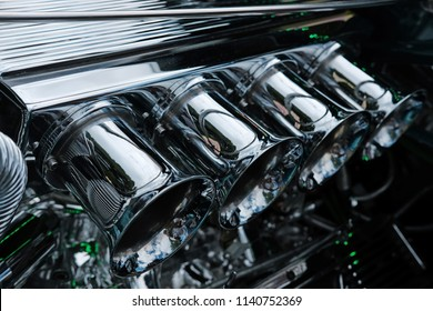 Close up of Chrome on High Performance Engine