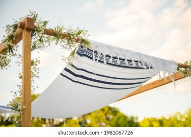 Close up of Chuppah canopy cloth details for traditional Jewish wedding custom