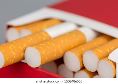 Close up cigarette in pack is addictive to be cancer.smoking reduction campaign in World No Tobacco Day.