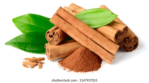 close up of cinnamon sticks isolated on white background