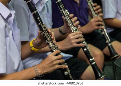 Close up of Clarinetist performance which is some part of classic music band when rehearsal, musical concept
