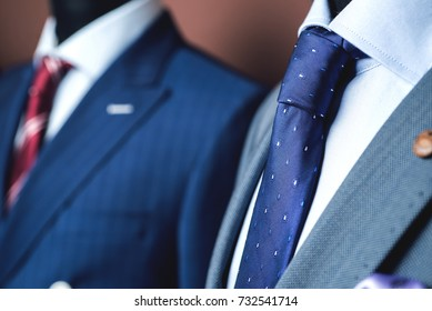 Close up of classic business attire with tie and elegant blazer