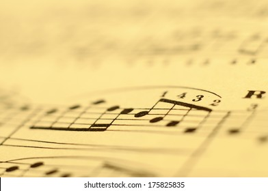 Close up of classic music notes on old paper