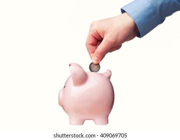 close up of classic piggybank money safer