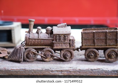 Close up classic train model ,toys. Transporation and logistic concept