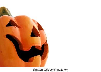Close up of a clay Halloween pumpkin