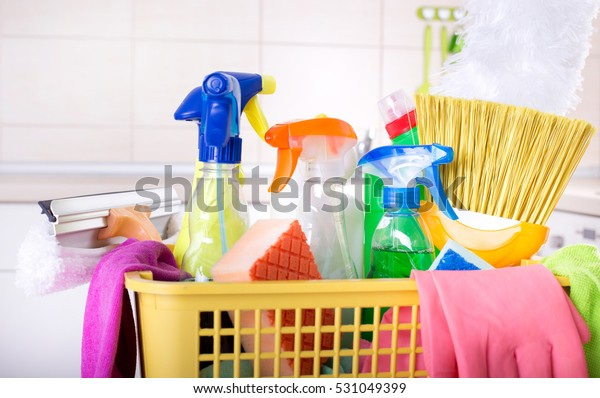 Close Cleaning Supplies Equipment Plastic Basket Stock Photo ...