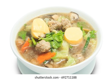 Close up of Clear Soup with Tofu and Minced Pork