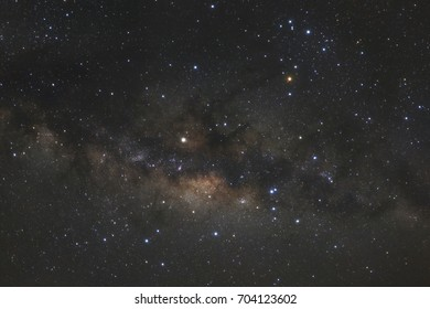Close up of clearly milky way galaxy with stars and space dust in the universe