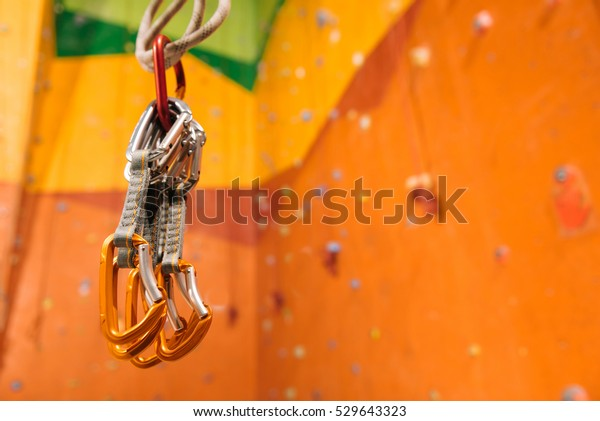 Close up of climbing equipment hanging in gym