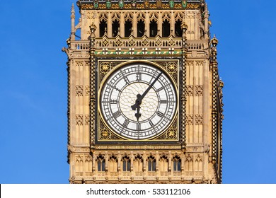 Close up of the clock face of Big Ben in Westminster, London on a clear sunny day.