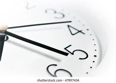 close up of clock face ower white