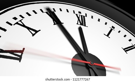 Close up of clock. The hands shows five minutes to twelve.