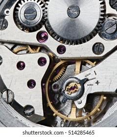 close up of Clock mechanism. macro shot