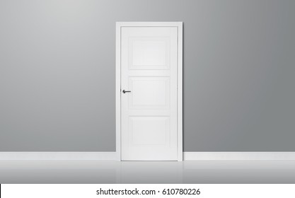 Close up of closed elegant wooden door in the empty room with copy space