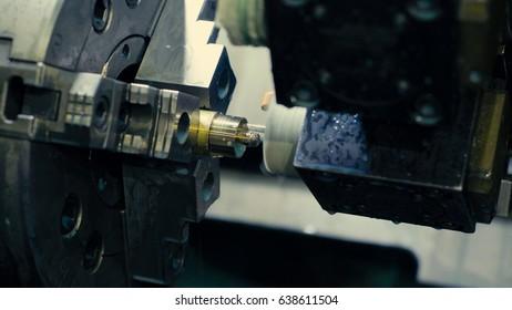 Close up of CNC milling machine