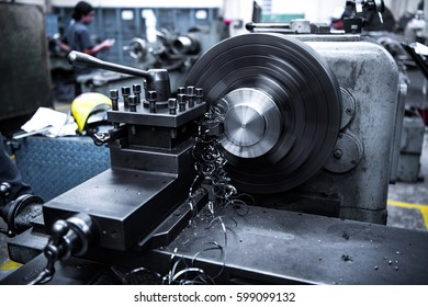 close up CNC milling machine working process  on metal industry