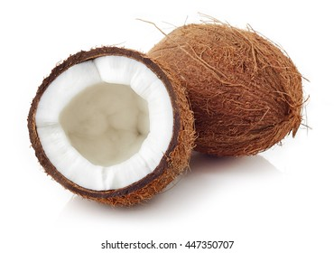 Close up of a coconut isolated on white background