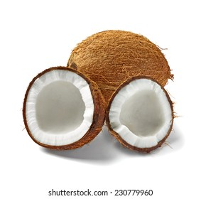 close up of  a coconut on white background