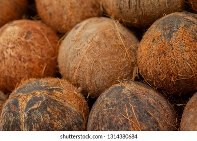 Close up of Coconuts Stacked Up