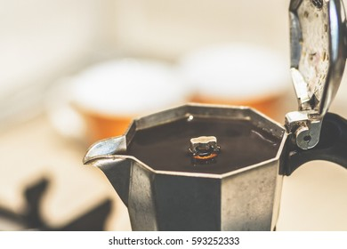 Close up of coffe in a moka.