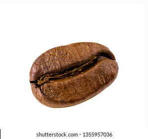 Close up of coffee bean on white background