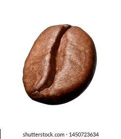 close up of a coffee bean on white background