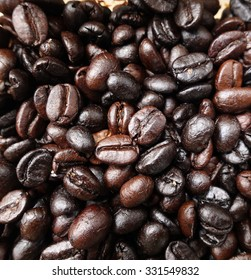 Close up of coffee beans background
