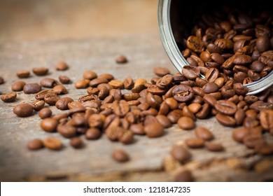 Close up of coffee beans in can